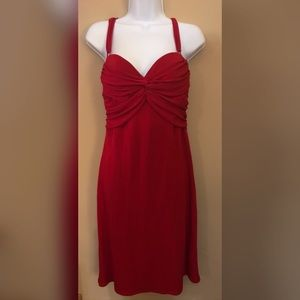 ABS Sweetheart Neckline Red Knit Cocktail Dress
